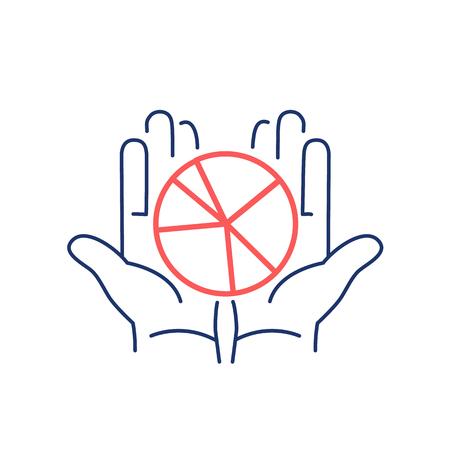 Vector icono gráfico conceptual de cuota de mercado en el pastel de las manos abiertas | El diseño plano y lineal moderna comercialización de negocio ilustración y el concepto de infografía rojo y azul sobre fondo blanco