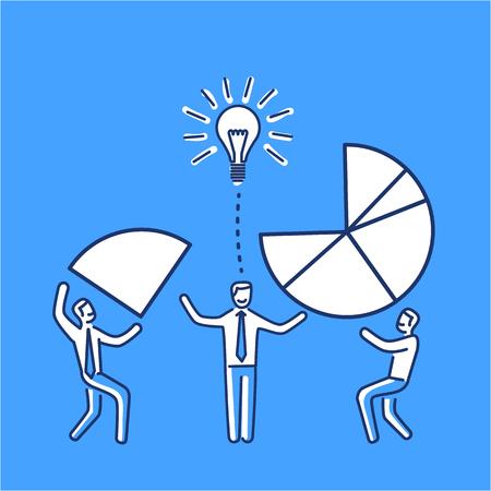 Konzeptionelle Vektor-Symbol der Teamarbeit kreativen Prozess im Agenturgeschäft mans machen Tortendiagramm zusammen   modernes flaches Design Marketing- und Business-lineare Darstellung und Infografik-Konzept auf blauem Hintergrund