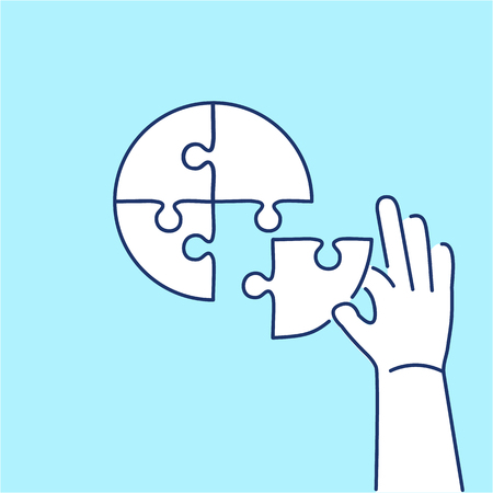 human hands: Conceptual vector icon of person making puzzle to pie chart | modern flat design marketing and business linear illustration and infographic concept on blue background