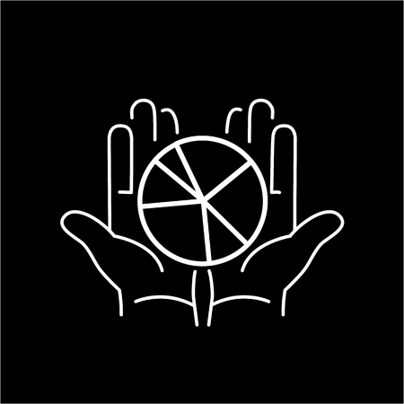 market share: Conceptual vector icon of market share pie chart in open hands | modern flat design marketing and business linear illustration and infographic concept white on black background