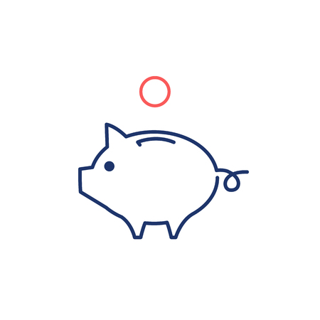 moneyed: Conceptual vector piggy money bank icon | modern flat design marketing and business linear illustration and infographic concept red and blue on white background Illustration
