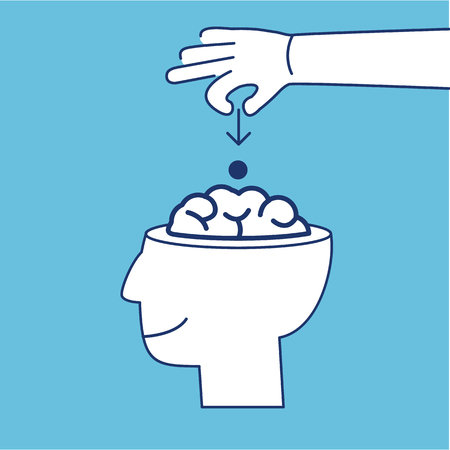 guerilla: Conceptual vector icon of suggestion viral and guerilla marketing inserting thoughts into the brain | modern flat design business linear illustration and infographic concept on blue background