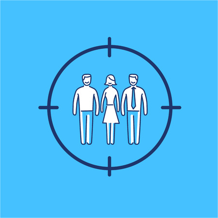 pinpoint: Conceptual vector target audience icon | modern flat design marketing and business linear illustration and infographic concept on blue background Illustration