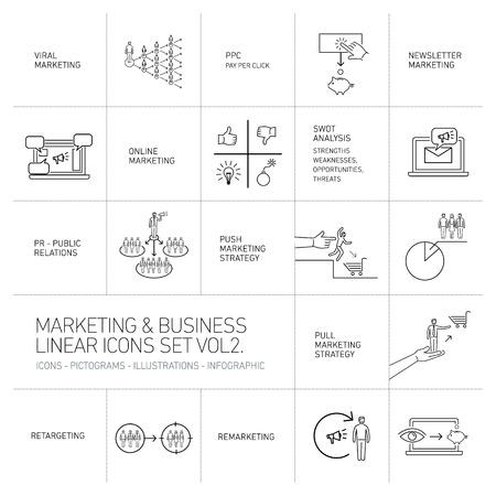 marketing vecteur et icônes affaires régler le volume deux | illustration conception linéaire plat et noir infographique isolé sur fond blanc