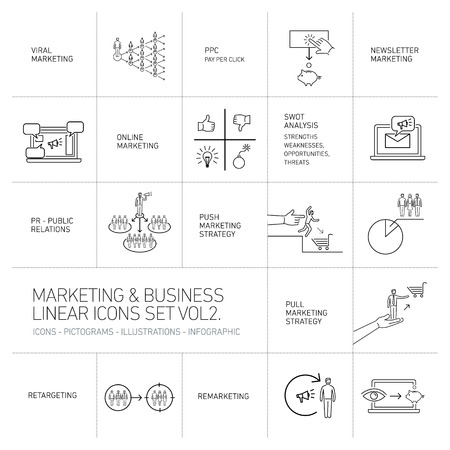 vector marketing and business icons set volume two | flat design linear illustration and infographic black isolated on white background