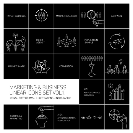 brand monitoring: vector marketing and business icons set volume one | flat design linear illustration and infographic white isolated on black background