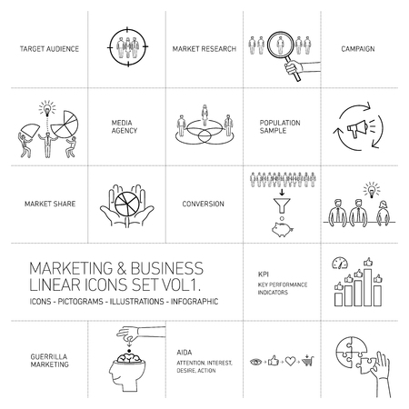 brand monitoring: vector marketing and business icons set volume one | flat design linear illustration and infographic black isolated on white background Illustration