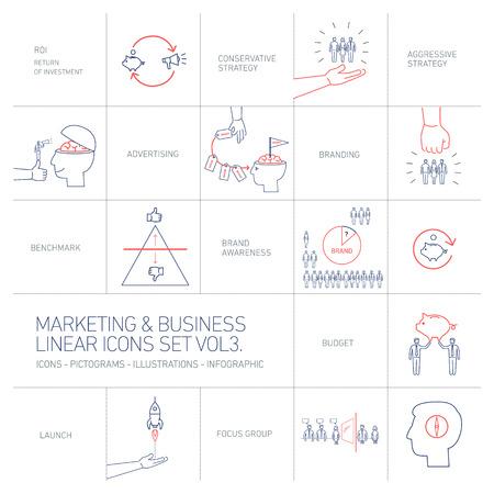 vector de marketing y de negocios iconos conjunto de tres Volme   Ilustración plana de diseño lineal y azul infografía y rojo aislado en el fondo blanco
