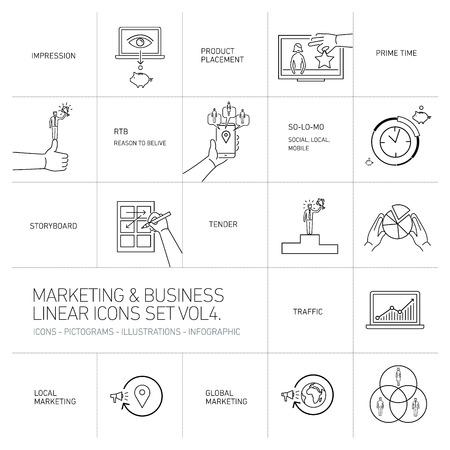 ベクトルのマーケティングとビジネスのアイコン セット ボリューム 4 |フラットなデザインの線形図とインフォ グラフィックの黒は、白い背景で隔