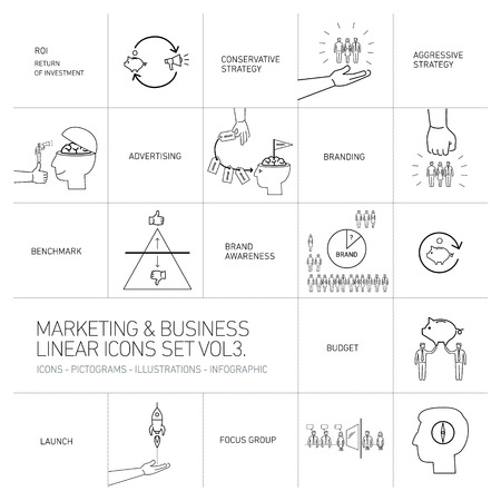 brand monitoring: vector marketing and business icons set volme three | flat design linear illustration and infographic black isolated on white background