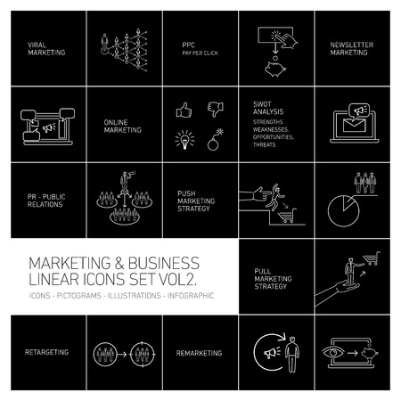 vector marketing and business icons set volume two | flat design linear illustration and infographic white isolated on black background
