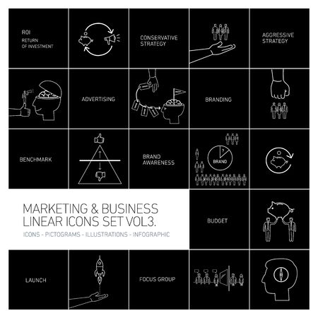 benchmark: vector marketing and business icons set volme three | flat design linear illustration and infographic white isolated on black background Illustration