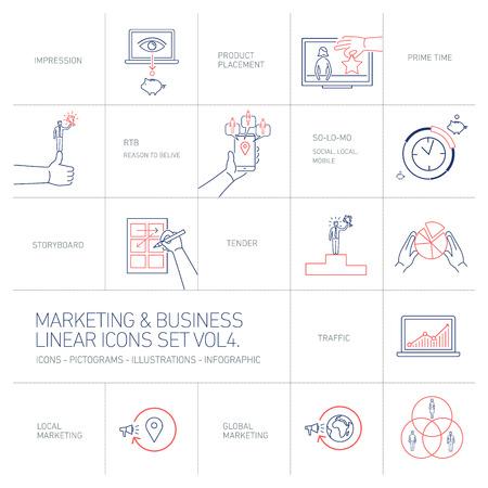 벡터 마케팅 및 비즈니스 아이콘 볼륨 4 설정 | 평면 디자인 선형 그림 및 infographic 파란색과 빨간색 흰색 배경에 고립