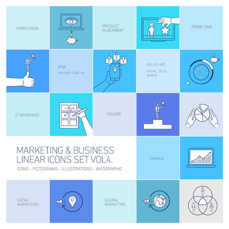 belive: vector marketing and business icons set volume four| flat design linear illustration and infographic isolated on colorful blue background