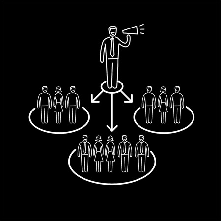 targeted: Conceptual vector icon of pr public relations communication with different groups of people | modern flat design marketing and business linear illustration and infographic concept white on black background Illustration
