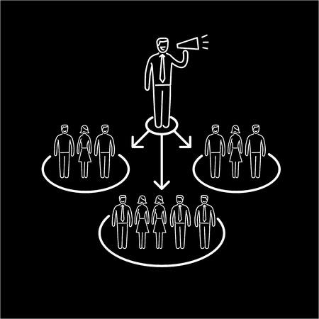 relaciones publicas: vector icono conceptual de la comunicación de relaciones públicas PR con diferentes grupos de personas | El diseño plano y lineal moderna comercialización de negocio ilustración y la infografía concepto de blanco sobre fondo negro