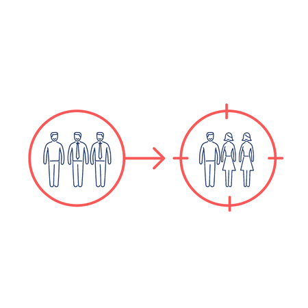 focus group: Conceptual vector retargeting icon of changing target on different focus group | modern flat design marketing and business linear illustration and infographic concept red and blue on white background