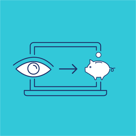impression: Conceptual vector of web page impression or pay per click ppc icon with computer pig and eye | modern flat design marketing and business linear illustration and infographic concept on blue background