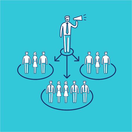 relaciones p�blicas: vector icono conceptual de la comunicaci�n de relaciones p�blicas PR con diferentes grupos de personas   moderna comercializaci�n dise�o plano y lineal ilustraci�n concepto de negocio y infograf�a sobre fondo azul