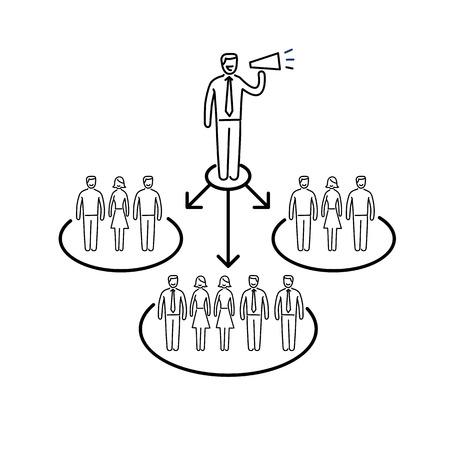 relaciones publicas: vector icono conceptual de la comunicación de relaciones públicas PR con diferentes grupos de personas | El diseño plano y lineal moderna comercialización de negocio ilustración y el concepto de infografía negro sobre fondo blanco Vectores