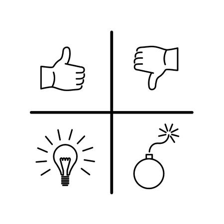 Conceptuel vecteur analyse SWOT icône   design plat moderne marketing et linéaire d'affaires illustration et infographie notion noir sur fond blanc