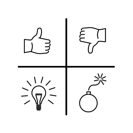 Swot 分析の概念のベクトル アイコン |モダンなフラット デザイン マーケティングとビジネスの線形図とインフォ グラフィックのコンセプト白地黒