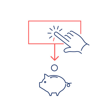 money button: Conceptual vector of ppc campaign pay per click icon with hand tapping on button and coin falling in to piggy money bank | modern flat design marketing and business linear illustration and infographic concept red and blue on white background Illustration