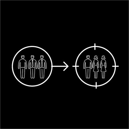 다른 포커스 그룹에 대상을 변경하는 개념적 벡터 리 타겟팅 아이콘   현대 평면 디자인 마케팅 및 비즈니스 선형 그림과 검은 배경에 인포 그래픽 개념 흰색