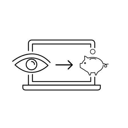 Conceptual vector of web page impression or pay per click ppc icon with computer pig and eye | modern flat design marketing and business linear illustration and infographic concept black on white background