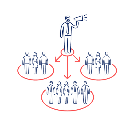 public relations: Conceptual vector icon of pr public relations communication with different groups of people | modern flat design marketing and business linear illustration and infographic concept red and blue on white background Illustration