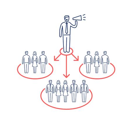 사람들의 다른 그룹과 PR 홍보 커뮤니케이션의 개념적 벡터 아이콘   현대 평면 디자인 마케팅 및 비즈니스 선형 그림 및 infographic 개념 빨강 및 파랑 흰색 배경에