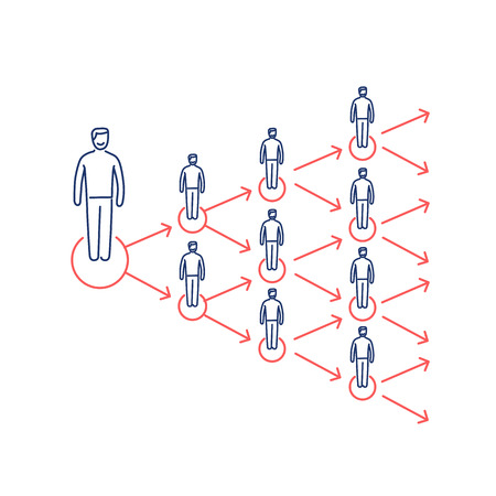 Conceptual vector viral marketing icon that spreads exponentially and increased to multiply customers group | modern flat design marketing and business linear illustration and infographic concept red and blue on white background