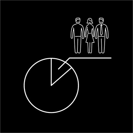 focus group: Conceptual vector population sample icon with pie chart at focus group of people | modern flat design marketing and business linear illustration and infographic concept white on black background
