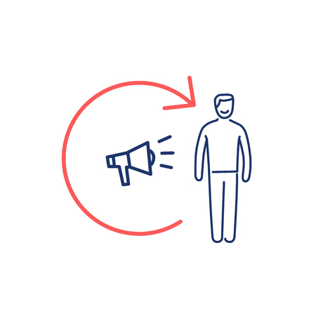 メガホンと顧客アイコンをリマーケティング概念ベクトル |モダンなフラット デザイン マーケティングと赤と白の背景に青線形図とインフォ グラフ