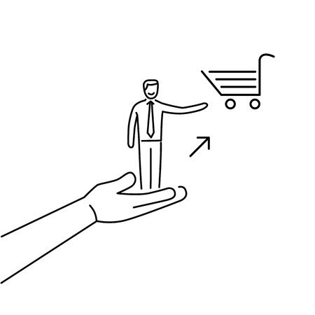 targeted: Conceptual vector icon of pull marketing communication and strategy with hand pulling happy customer to shopping basket | modern flat design marketing and business linear illustration and infographic concept black on white background