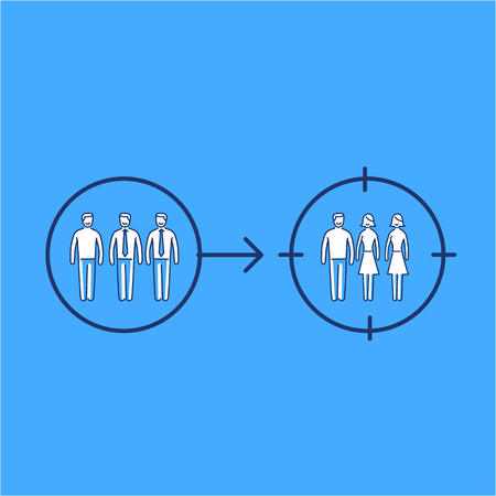 focus group: Conceptual vector retargeting icon of changing target on different focus group | modern flat design marketing and business linear illustration and infographic concept on blue background