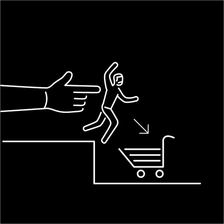 targeted: Conceptual vector icon of push marketing communication and strategy with hand pushing customer to shopping basket | modern flat design marketing and business linear illustration and infographic concept white on black background