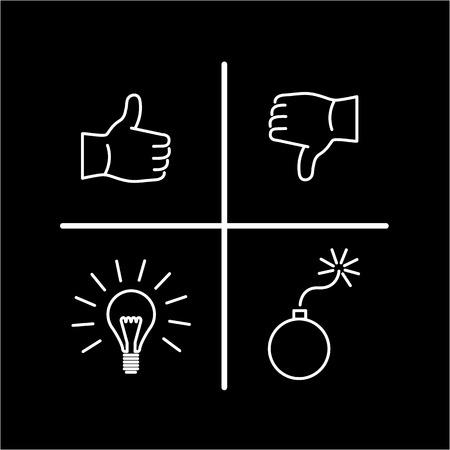개념적 벡터 진동 분석 아이콘   현대 평면 디자인 마케팅 및 비즈니스 선형 그림 및 infographic 개념 검정색 배경에 흰색