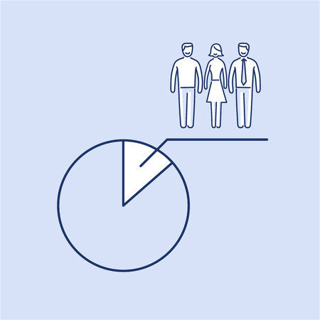 focus group: Conceptual vector population sample icon with pie chart at focus group of people | modern flat design marketing and business linear illustration and infographic concept on blue background