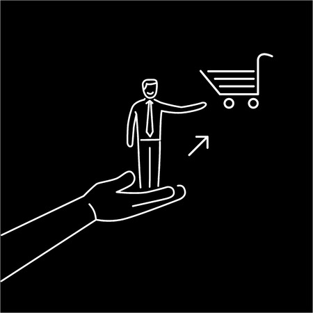 conservative: Conceptual vector icon of pull marketing communication and strategy with hand pulling happy customer to shopping basket | modern flat design marketing and business linear illustration and infographic concept white on black background