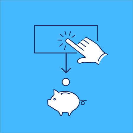 money button: Conceptual vector of ppc campaign pay per click icon with hand tapping on button and coin falling in to piggy money bank | modern flat design marketing and business linear illustration and infographic concept on blue background
