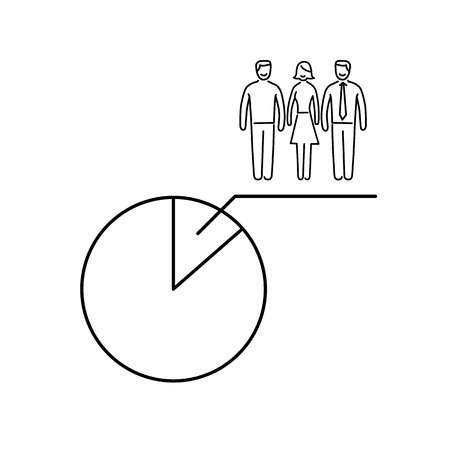 Conceptual vector population sample icon with pie chart at focus group of people   modern flat design marketing and business linear illustration and infographic concept black on white background