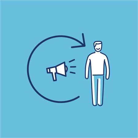 확성기와 고객과 개념적 벡터 리마이션 아이콘   현대 평면 디자인 마케팅 및 비즈니스 선형 그림 및 파란색 배경에 infographic 개념