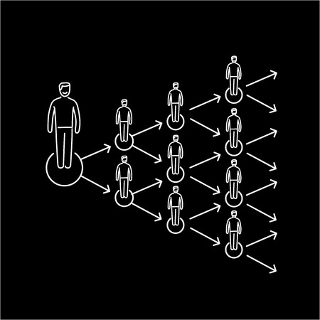 viral marketing: Conceptual vector viral marketing icon that spreads exponentially and increased to multiply customers group | modern flat design marketing and business linear illustration and infographic concept white on black background