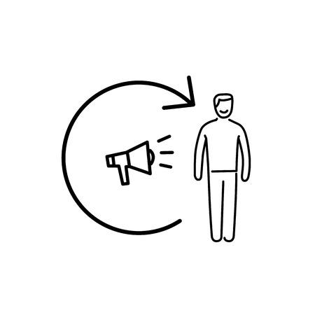 확성기와 고객과 개념적 벡터 리마이션 아이콘   현대 평면 디자인 마케팅 및 비즈니스 선형 그림 및 흰색 배경에 검정 infographic 개념