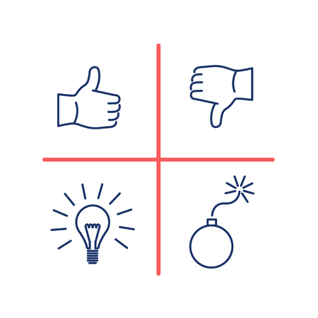swot analysis: Conceptual vector swot analysis icon | modern flat design marketing and business linear illustration and infographic concept red and blue on white background