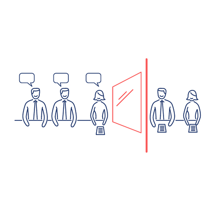 focus group: Conceptual vector focus group icon of marketing reserach method with group of people discussing in meeting room and second behind the mirror | modern flat design business linear illustration and infographic concept red and blue on white background Illustration