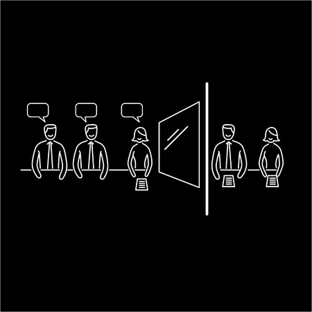 customer focus: Conceptual vector focus group icon of marketing reserach method with group of people discussing in meeting room and second behind the mirror | modern flat design business linear illustration and infographic concept white on black background Illustration