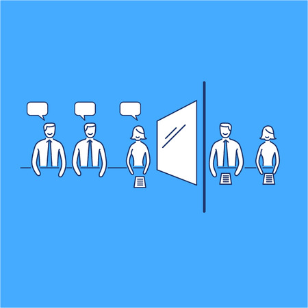 Conceptual vector focus group  icon of marketing reserach method with group of people discussing in meeting room and second behind the mirror | modern flat design business linear illustration and infographic concept on blue background