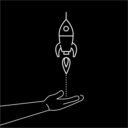 targeted: Conceptual vector icon of campaign or project launch rocket starting from open hand palm | modern flat design marketing and business linear illustration and infographic concept white on black background